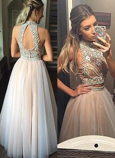 A Line Prom Dress,Floor Length Evening Dress,Champagne Prom Dress,Beading Homecoming Dress,High Neckline Prom Dress,2 Pieces Prom Dress,Homecoming Dress Beaded,2016 Homecoming Dress,Homecoming Dress for Juniors