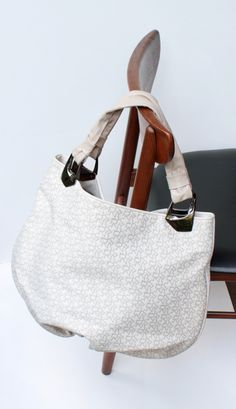 e41d7e7891c Signature Monogram Style Tote Shoulder Tan and White Canvas Leather Hobo  Bag Embroidered letters Leather trim