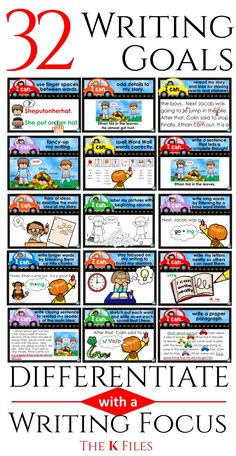 "Hold your students accountable for their learning with this set of 32 Writing Goal Posters with ""I can"" statements, matching brag tags and name tags to encourage your young authors to stay on the ""write track"". Display the writing goal posters throughout the year as a visual reminder of what good writer's do. Using Writing goals in your classroom is an effective way to differentiate your instruction during the Daily 5, Writers workshop and literacy centers. TheKausFiles.blogspot.com"