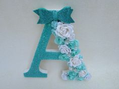 Custom letter A Floral letter Nursery decor Baby shower decor Little girl Turquoise decor Wall decor Custom name letter Decor - Wood Letters Glitter Letters, Floral Letters, Diy Letters, Letter A Crafts, Name Letters, Letter Wall, Nursery Letters, Flower Wall Decor, Baby Shower Decorations