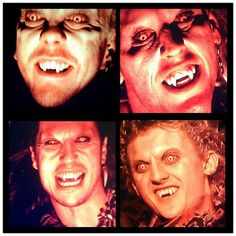 """""""The Lost Boys"""" ~ David (Kiefer Sutherland), Paul (Brook McCarter), Dwayne (Billy Wirth), and Marko (Alex Winter) Lost Boys Movie, The Lost Boys 1987, I Movie, Terror Movies, Scary Movies, Great Movies, King Kong, Best Vampire Movies, Alex Winter"""