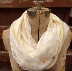 Vintage ivory lace infinity scarf - custom order - by PaleDesign, $27.00