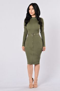 Shop Women's size M Dresses at a discounted price at Poshmark. Description: New dress , Mock Neckline Midi Length Long Sleeves Attached Belt Front Pockets Zipper Detail Rayon Nylon. Beautiful Casual Dresses, Simple Dresses, Nice Dresses, Olive Dress, Olive Green Dresses, Fashion 2017, Fashion Outfits, Fasion, Chic Outfits