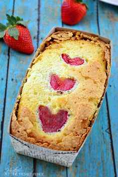 strawberries and cream pound cake via At The Picket Fence