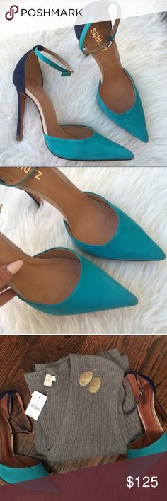 Schutz Turquoise & Navy Suede Pump Schutz Turquoise & Navy Suede Pump with ankle strap. Like new, does NOT come with box. SCHUTZ Shoes Heels