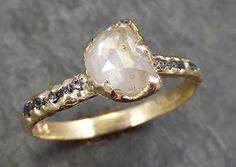 Faceted Fancy cut white Half Moon Diamond Engagement 14k Gold Multi stone Wedding Ring Rough Diamond Ring byAngeline 0610