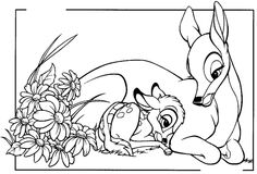 mothers day drawings  | Bambi and his mom coloring
