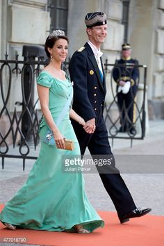 Prince Joachim of Denmark, and Princess Marie of Denmark, arrive at The Royal Chapel, at The Royal Palace in Stockholm for The Wedding of Prince Carl Philip of Sweden and Sofia Hellqvist on June 13, 2015 in Stockholm, Sweden.