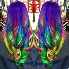 Neon rainbow hair by Amanda King. Unicorn hair. Mermaid hair. Long hair. hotonbeauty.com