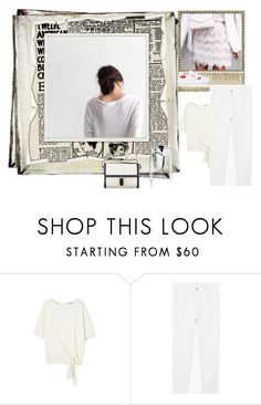 """""""White Denim"""" by peeweevaaz ❤ liked on Polyvore featuring MANGO, Prada, outfit, denim, polyvoreeditorial and polyvorefashion"""
