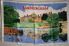 Sandringham House Souvenir Tea Towel - Vintage Queen Elizabeth II England - Ulster Irish Linen - New! Red Canisters, Queen Elizabeth Ii, Screen Shot, Tea Towels, Irish, England, Illustration, House, Painting