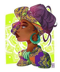 Ethnic Girl Canvas Print by evviart Amazing Drawings, Amazing Art, Art Drawings, Black Girl Art, Black Women Art, Evvi Art, African Artwork, Creation Art, Black Art Pictures