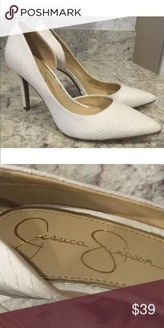 """NEW Jessica Simpson White Snakeskin D'Orsay Heels Brand new Jessica Simpson Claudette D'Orsay pumps in powder white. Faux snakeskin look. Women's size 6 M. 4"""" heel Jessica Simpson Shoes Heels"""