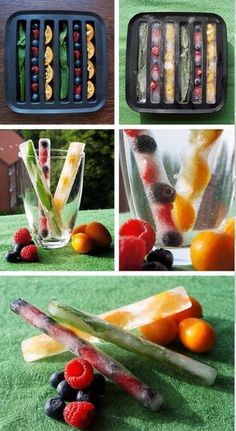 23 Colourful and Tasty Ice Cube Ideas - Obst Fruit Ice Cubes, Flavored Ice Cubes, Ice Cube Trays, Infused Water Recipes, Fruit Infused Water, Ice Cube Recipe, Cocktail Party Food, Flavor Ice, Perfect Food