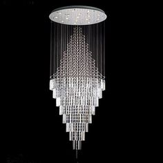 "NEW ! Modern Contemporary Chandelier ""Rain Drop"" Chandeliers H 100"" W 41"" (Over 8ft Tall!) - Crystal Chandelier - AmazonSmile"