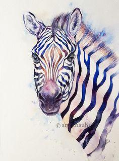 Colorful Zebra portrait Africa Stripes Original Watercolor