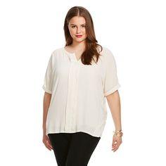 Women's Plus Size Short Sleeve Knit to Woven  Blouse- U-knit