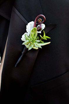vanda floral - succulent and fiddlehead fern boutonniere Diy Wedding Flowers, Floral Wedding, Wedding Bouquets, Wedding Wishes, Our Wedding, Dream Wedding, Wedding Stuff, Creative Wedding Ideas, Floral Centerpieces