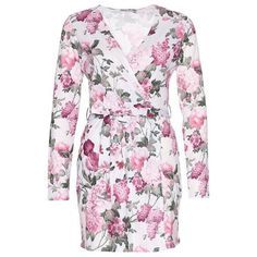 Jersey Wrap Dress (235 DKK) via Polyvore featuring dresses, jersey dress, pink flower dress, flower dress, pink jersey and flower wrap dress