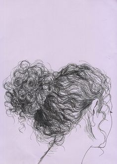 (via hair Art Print by Natalya Lobanova Pencil Art, Pencil Drawings, Art Drawings, People Drawings, Drawing People, Drawing Hair, Painting & Drawing, Drawing Faces, Gesture Drawing
