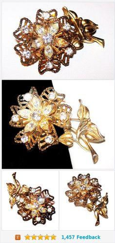 Rhinestone Flower Brooch Signed Barclay Filigree Gold Metal Art Deco Vintage https://www.etsy.com/BrightgemsTreasures/listing/577345051/rhinestone-flower-brooch-signed-barclay?ref=shop_home_active_1