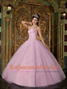 Pink Ball Gown Strapless Floor-length Appliques Tulle Quinceanera Dress