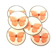 6 Pink Butterfly Buttons. Decorative or Novelty by buttonsbyrobin