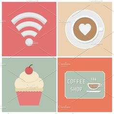 coffee shop Graphics free wifi symbol, cup of coffee, cake andsign by ZIRSOLOSTUDIO