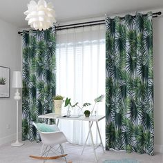 Emerald green leaf curtains blackout drapes for bedroom - Real Time - Diet, Exercise, Fitness, Finance You for Healthy articles ideas Leaf Curtains, Baby Room Curtains, Bedroom Drapes, Curtain Room, Kids Curtains, Room Darkening Curtains, Curtains For Sale, Curtain Panels, Privacy Curtains
