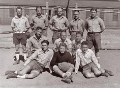 WWII Prisoners of war in Canada were treated so nicely, they didn't want to leave. This is a German POW soccer team.