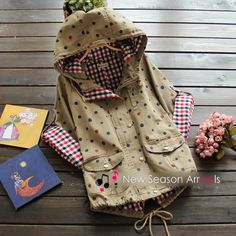 Polka-Dot Hooded Coat, Dark Khaki , One Size - Flower Idea | YESSTYLE