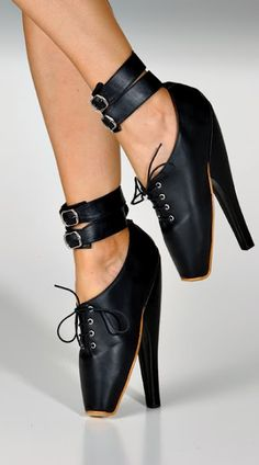 This black fetish shoe reminds me of my painful point shoes.    In modern times, women can feel powerful in a great pair of heels. They are the ultimate statement piece. Throughout history, it was the men that put women in extreme footwear: