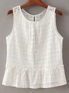 Hollow Out Round Neck Sleeveless T-Shirt - WHITE S