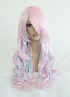 Mcoser 70 см длинные волнистые Косплэй парик два хвост смешать Цвет Синтетические волосы термостойкие 100% Высокое Температура Волокна WIG 053A купить на AliExpress