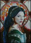 sketch card 2.5*3.5 inch of Natalie Dormer as Anne Boleyn likeness has been approved by Natalie Dormer original art inserted in Tudors licensed trading cards hope you'll find it! visit this folder ...