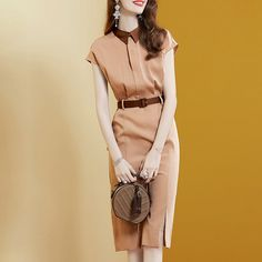 fashion dress summer new waist slimming temperament package hip skirt cross-border Types Of Skirts, Mid Length Skirts, Fabric Names, Slim Waist, Types Of Sleeves, Color Blocking, Fashion Models, Wrap Dress, Fashion Dresses