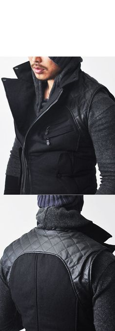 Outerwear :: Vests :: Tough-edge 4oz Leather Quilted Biker-Vest 72 - Mens Fashion Clothing For An Attractive Guy Look