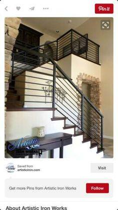exterior metal stair railing metal handrails for stairs horizontal rod iron stair railing metal handrails for outdoor stairs outdoor iron stair railing kit Rod Iron Railing, Modern Stair Railing, Wrought Iron Stair Railing, Stair Railing Design, Metal Stairs, Metal Railings, Staircase Railings, Modern Stairs, Banisters