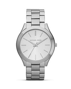 Michael Kors Slim Silver Case Runway Bracelet Watch, 42mm   Bloomingdale's
