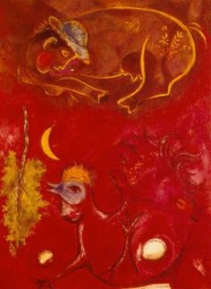 Chagall, Marc - At Cockcrow, Ecole de Paris, Oil on canvas, Abstract