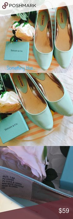 """Steve Madden Blue Patten Leather Pointy Toe Flats Steve Madden Blue Patten Leather Pointy Toe Flats. Size 7.5. A must have spring shoe. Perfect bridal """"something blue."""" Easter parties and ladies lunches are screaming for you to wear this shoe. Shoes Flats & Loafers"""
