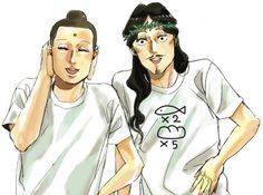 "Gautama Buddha and Jesus Christ from ""Saint Young Men"". I find the T-Shirt Particularly Hillarious."
