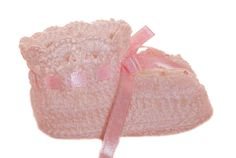 NEW Pink Crocheted Booties with Lace Trim and Delicate Pink Rosebud Embroidery $30.00
