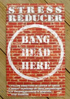 Bang Head Here TIN SIGN funny vtg metal bar office garage mancave wall decor OHW