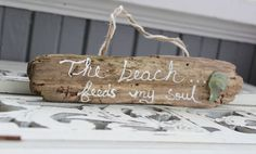 The Beach Feeds My Soul Unique Driftwood Sign With Surf Tumbled Sea Glass on Etsy, $15.00