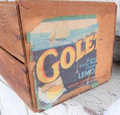 Goleta Wood Crate, Rustic Lemon Crate, Goleta Lemon Association, Fruit Crate Measures 18 long, 11 1/4 wide and 10 tall, approximately. Wonderfully rustic crate with a Goleta Lemons label. Used to haul lemons from the trees in California. I can just smell the citrus scent. Use for