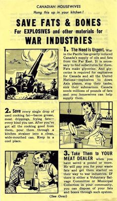 Food rationing Save your waste fats to make explosives. Retro Advertising, Vintage Advertisements, Retro Ads, Funny Vintage Ads, Depression Era Recipes, Ww2 Posters, Food Rations, Vintage Crafts, Time Capsule