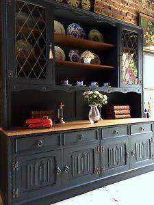 Stunning Antique Welsh Dresser Solid Oak Jaycee Shabby Chic Black Large