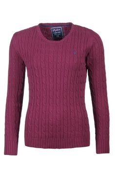 Ladies Rydale Crew Neck Cable Knit Sweater