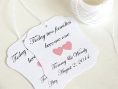 Custom wedding favor tags with hearts by WildSugarberries on Etsy, $9.50